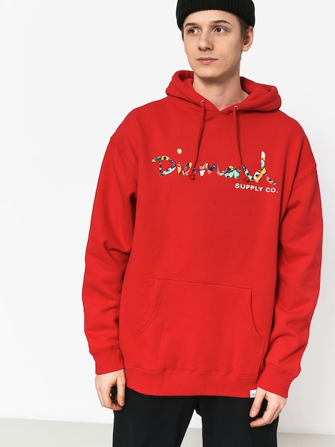 Bluza z kapturem Diamond Supply Co. Og Script Fasten HD (red)