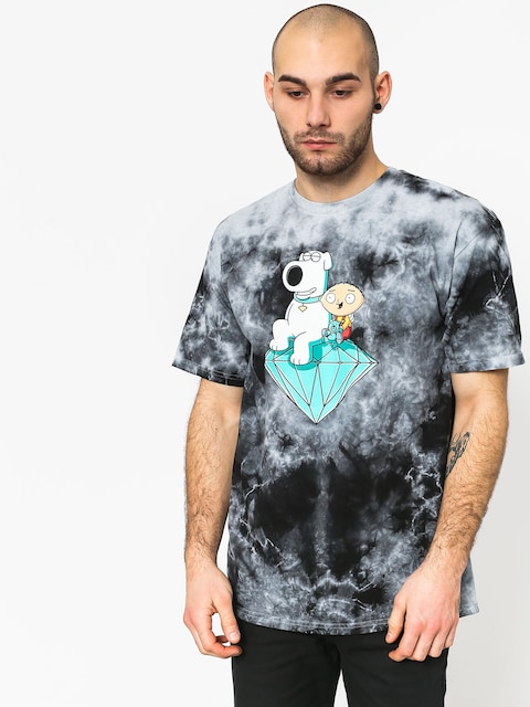T-shirt Diamond Supply Co. Stewie And Brian Crystal Wash (black)