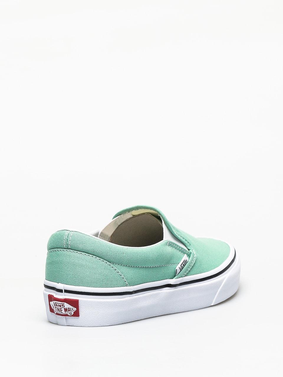 Vans Slip On Neptune Green & White Skate Shoes