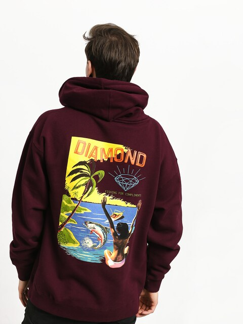 Bluza z kapturem Diamond Supply Co. Fishing For Compliments HD (burgundy)
