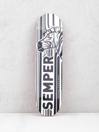 Deck Semper Skateboards Zebra (white/orange)
