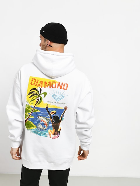 Bluza z kapturem Diamond Supply Co. Fishing For Compliments HD (white)
