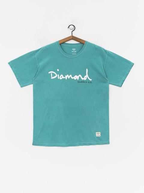 T-shirt Diamond Supply Co. Og Script Overdye (turquoise)