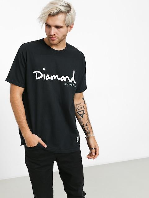 T-shirt Diamond Supply Co. Og Script Overdye (black)