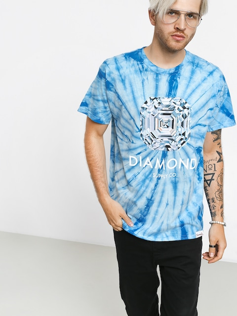 T-shirt Diamond Supply Co. Asscher Cut Tie Dye (blue)