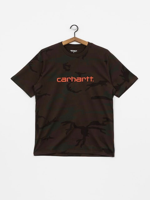 T-shirt Carhartt WIP Script (camo evergreen/brick orange)