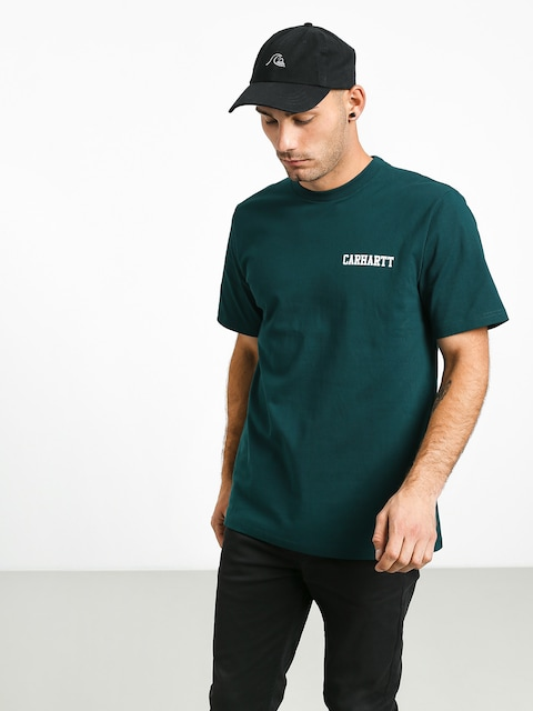 T-shirt Carhartt WIP College Script (dark fir/white)