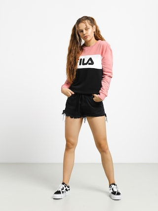 Bluza Fila Leah Crew Wmn (black/quarz pink/bright white)