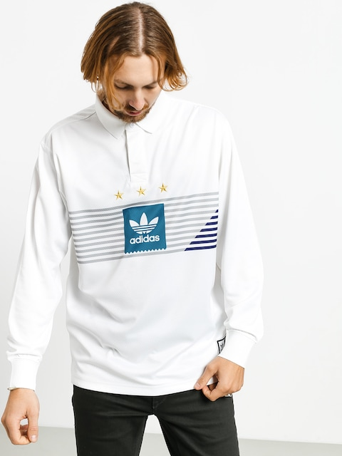 Polo adidas Elvtd Ls Rugby (white/grey two f17/active teal/collegiate purple)