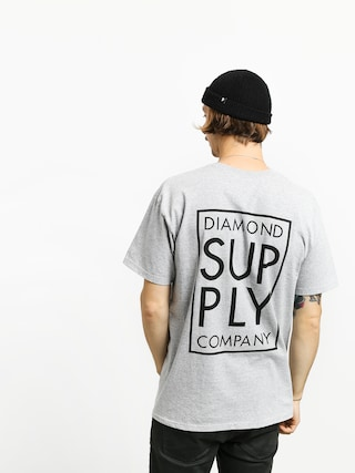 T-shirt Diamond Supply Co. Stacked Type (heather grey)