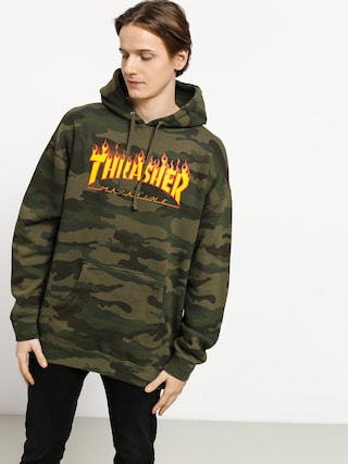 Bluza z kapturem Thrasher Flame HD (forest camo)