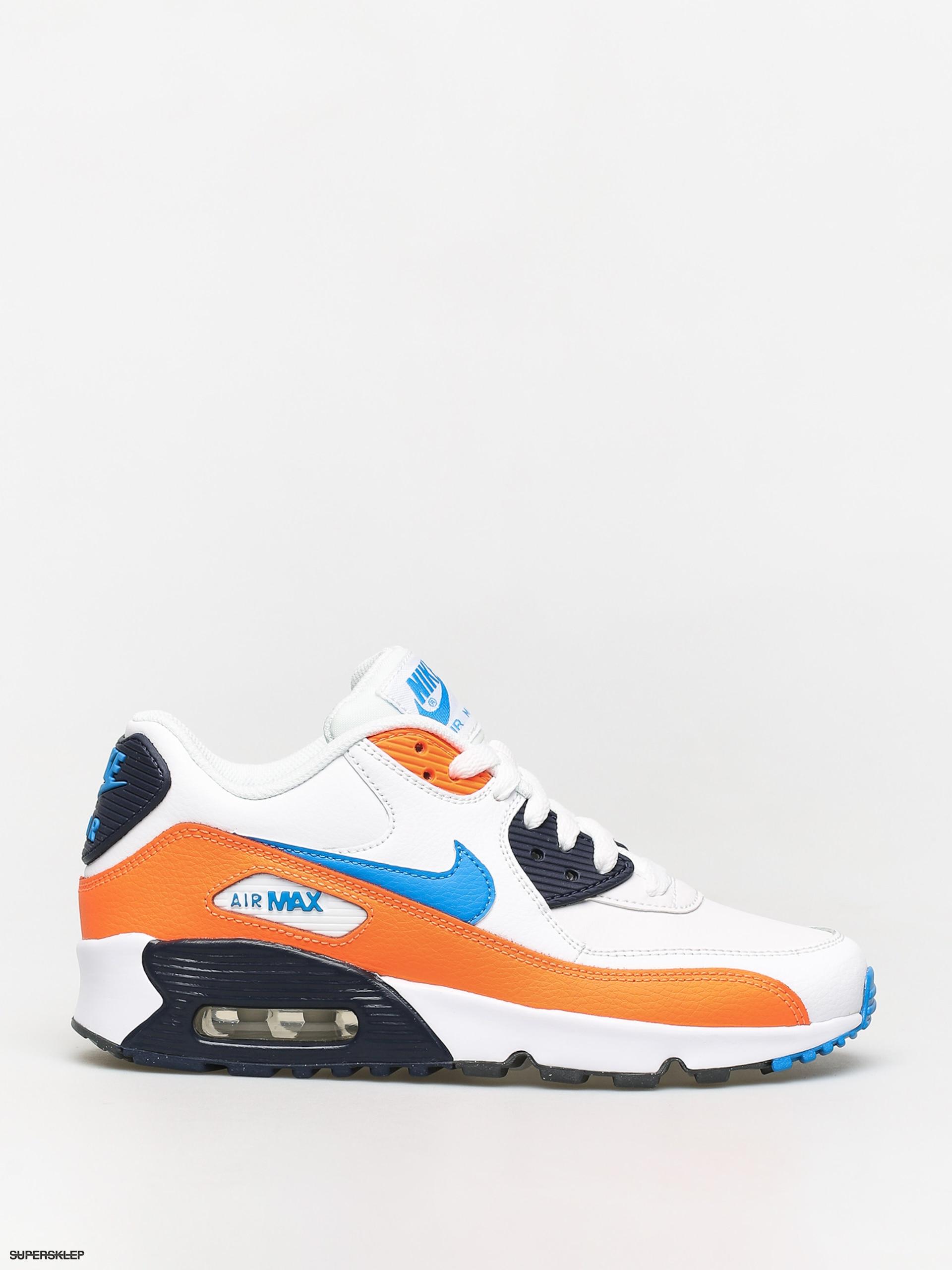 Buty Nike Air Max 90 Ltr Gs (whitephoto blue total orange)
