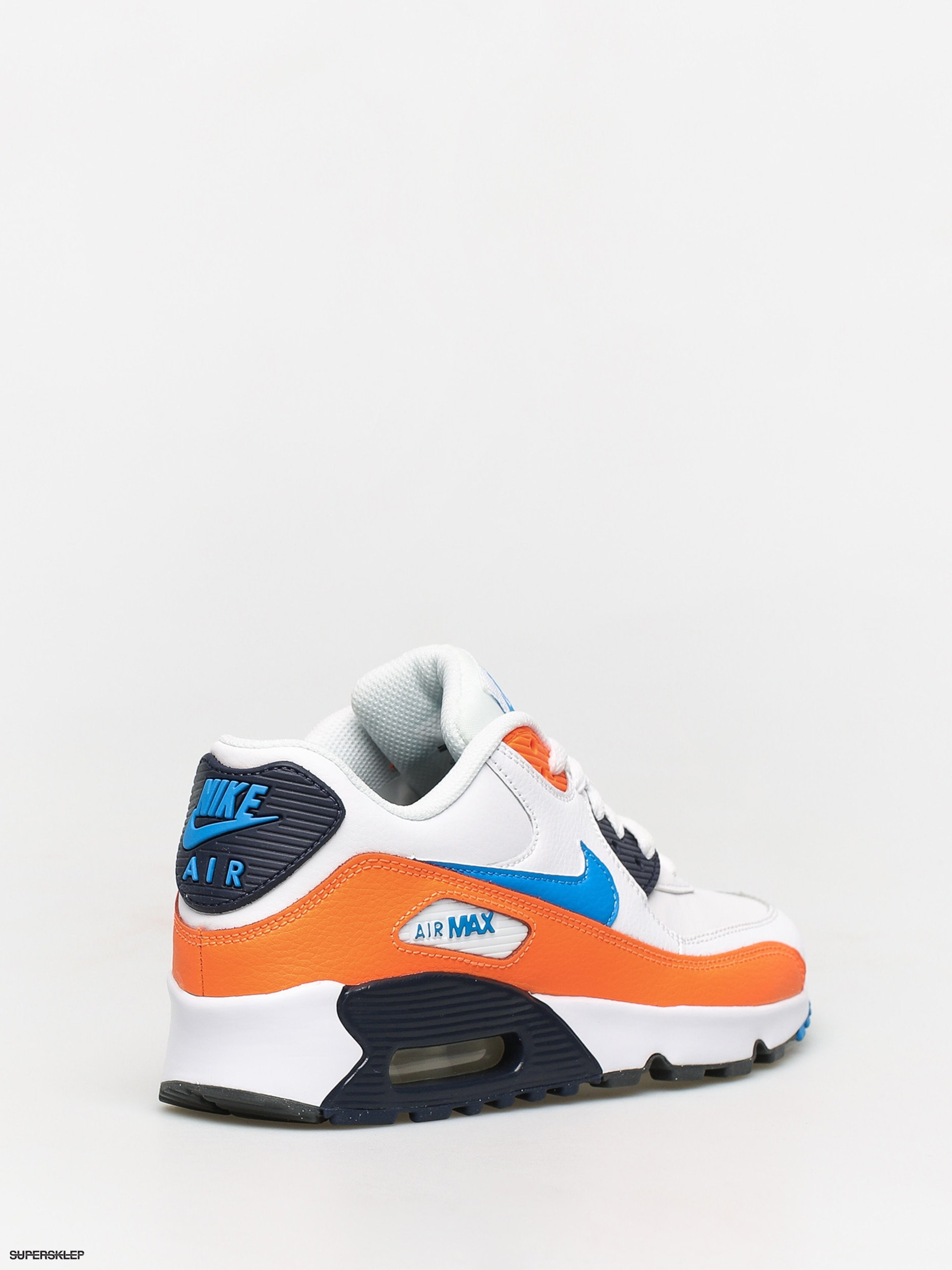 Perfectly Grey Air Max 90 Leather Sneakers Nike Orange Blue