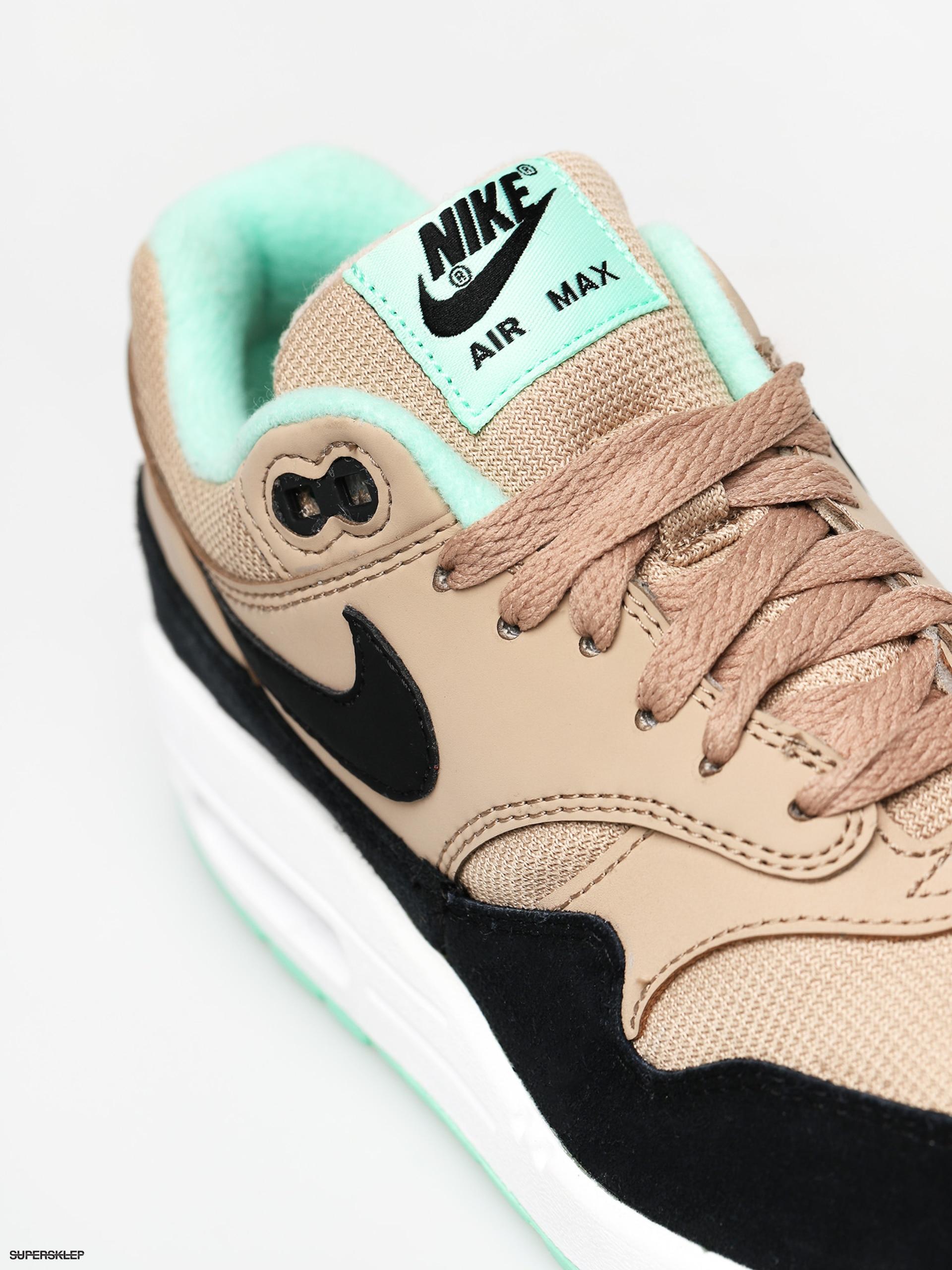 Sneakers buty damskie Nike WMNS Air Max 1 desert black green glow white (319986 206)