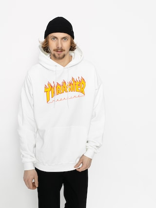 Bluza z kapturem Thrasher Flame HD (white)