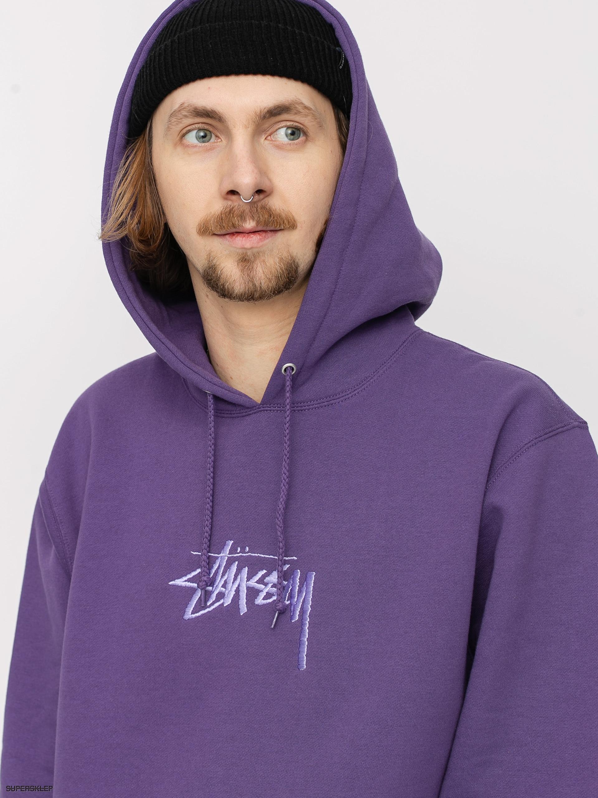 Bluza z kapturem Stussy Stock Logo App HD (purple)