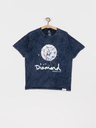 T-shirt Diamond Supply Co. Splash Sign Mineral Wash (navy)
