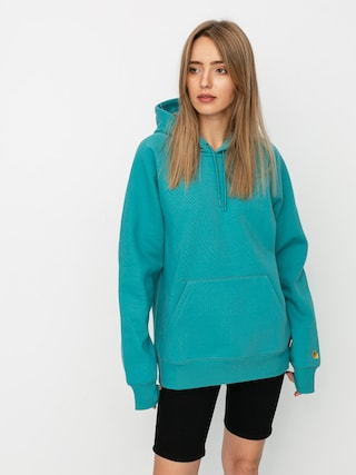 Bluza z kapturem Carhartt WIP Chase HD (frosted turquoise/gold)