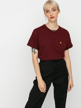 T-shirt Carhartt WIP Chase Wmn (bordeaux/gold)