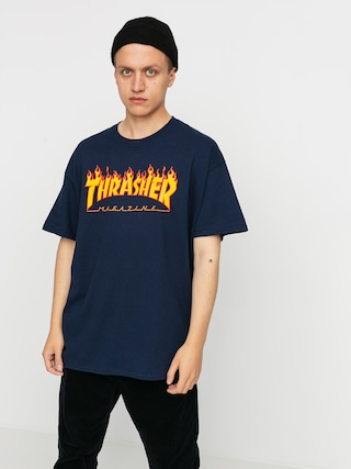 T-shirt Thrasher Flame Logo (navy/blue)