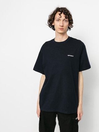 T-shirt Carhartt WIP Script Embroidery (dark navy/white)