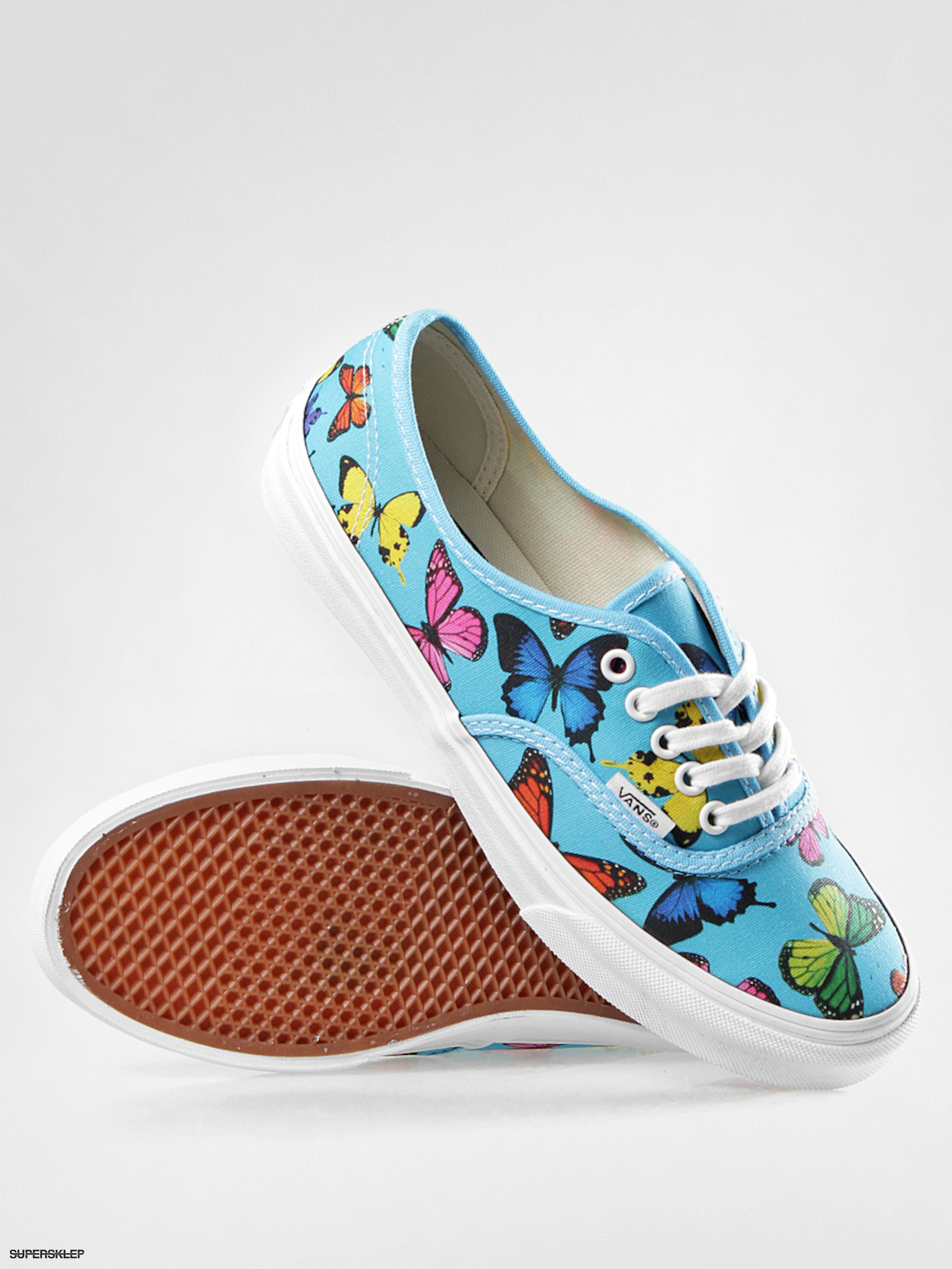 30d0e11c7f5828 Buty Vans Authentic Slim Wmn VQEV7GW (butterflies scuba blue)