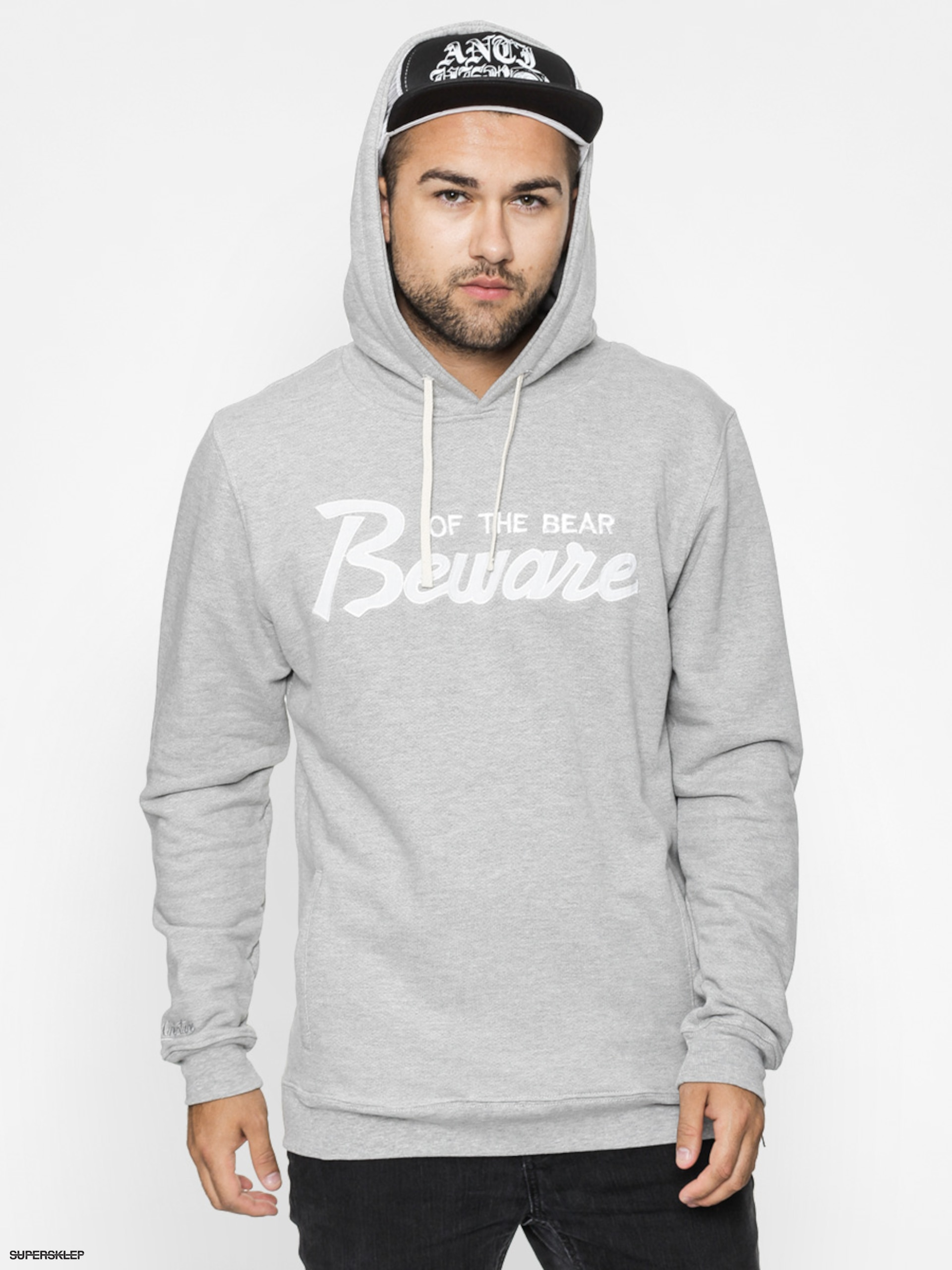 Bluza Grizzly Griptape Beware Of The Bear HD (heather grey)