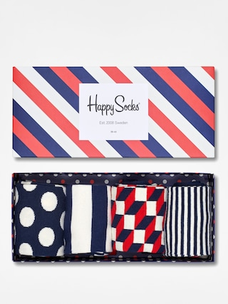 Skarpetki Happy Socks Giftbox 4pk (navy/white/red)