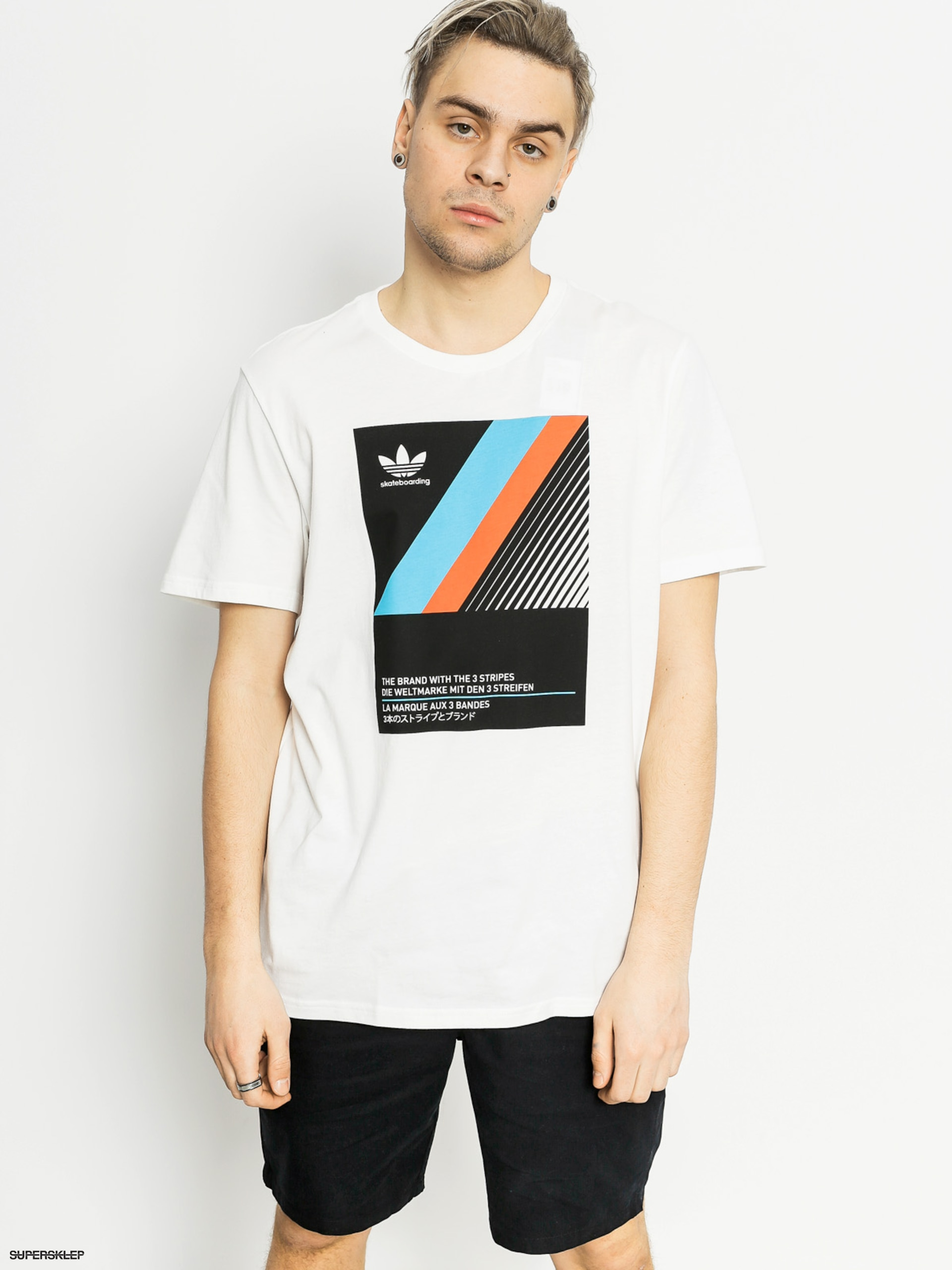 e3918004 T-shirt adidas Vhs Block (white/black/eneblu)