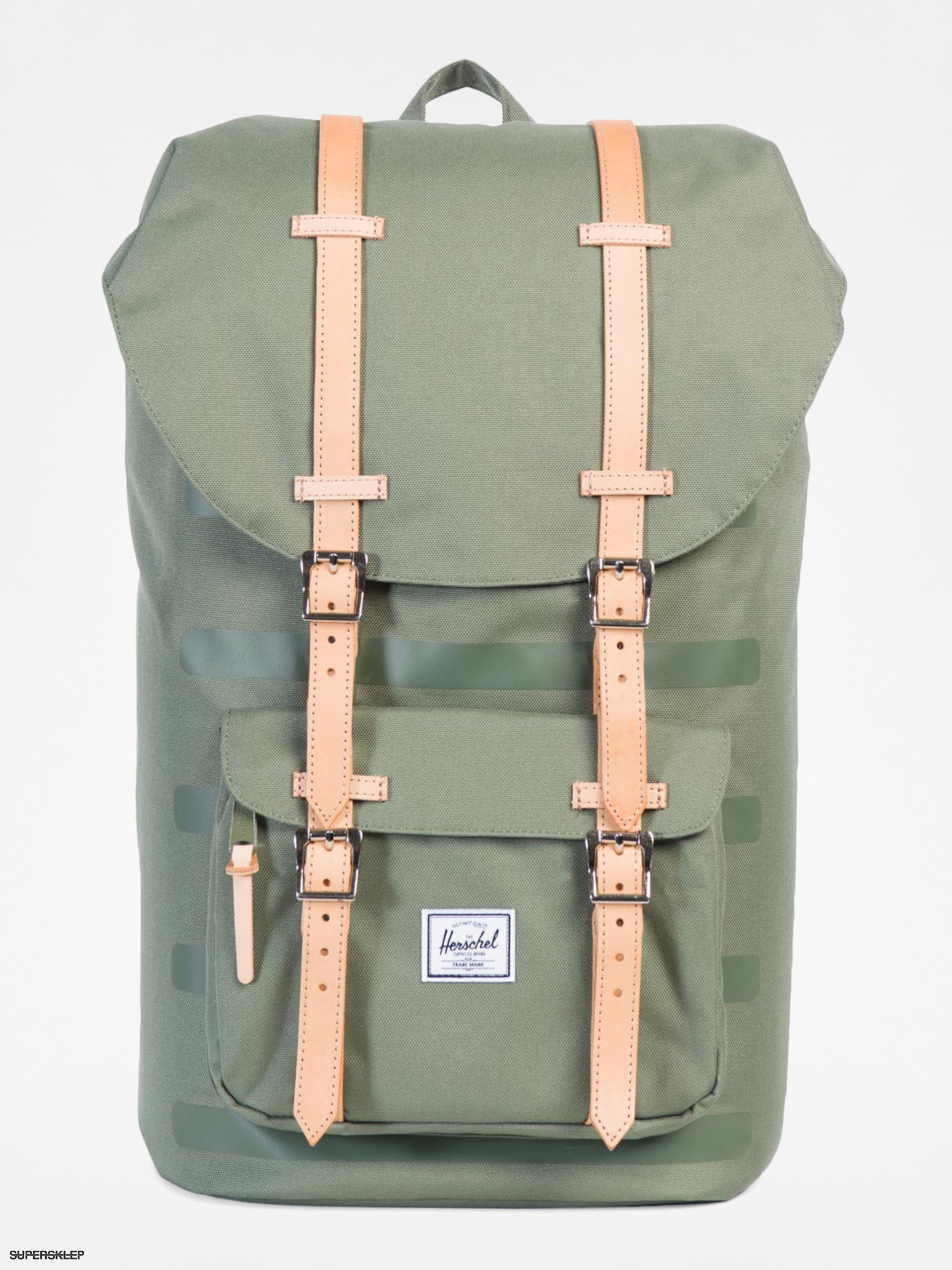 Plecak Herschel Supply Co. Little America (deep lichen green stripe/veggie tan 25l)