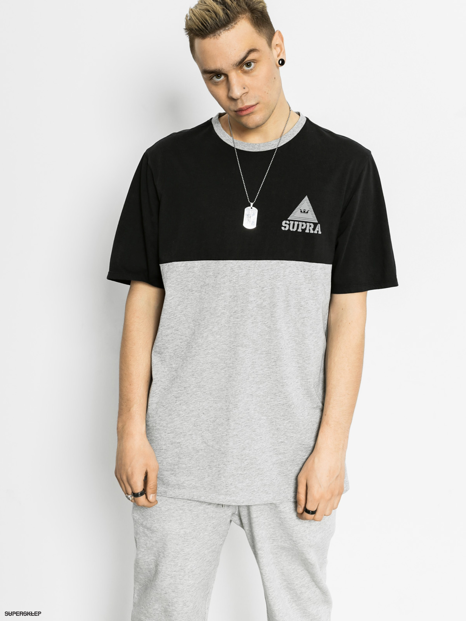 T-shirt Supra Block Crew (black/heather grey)
