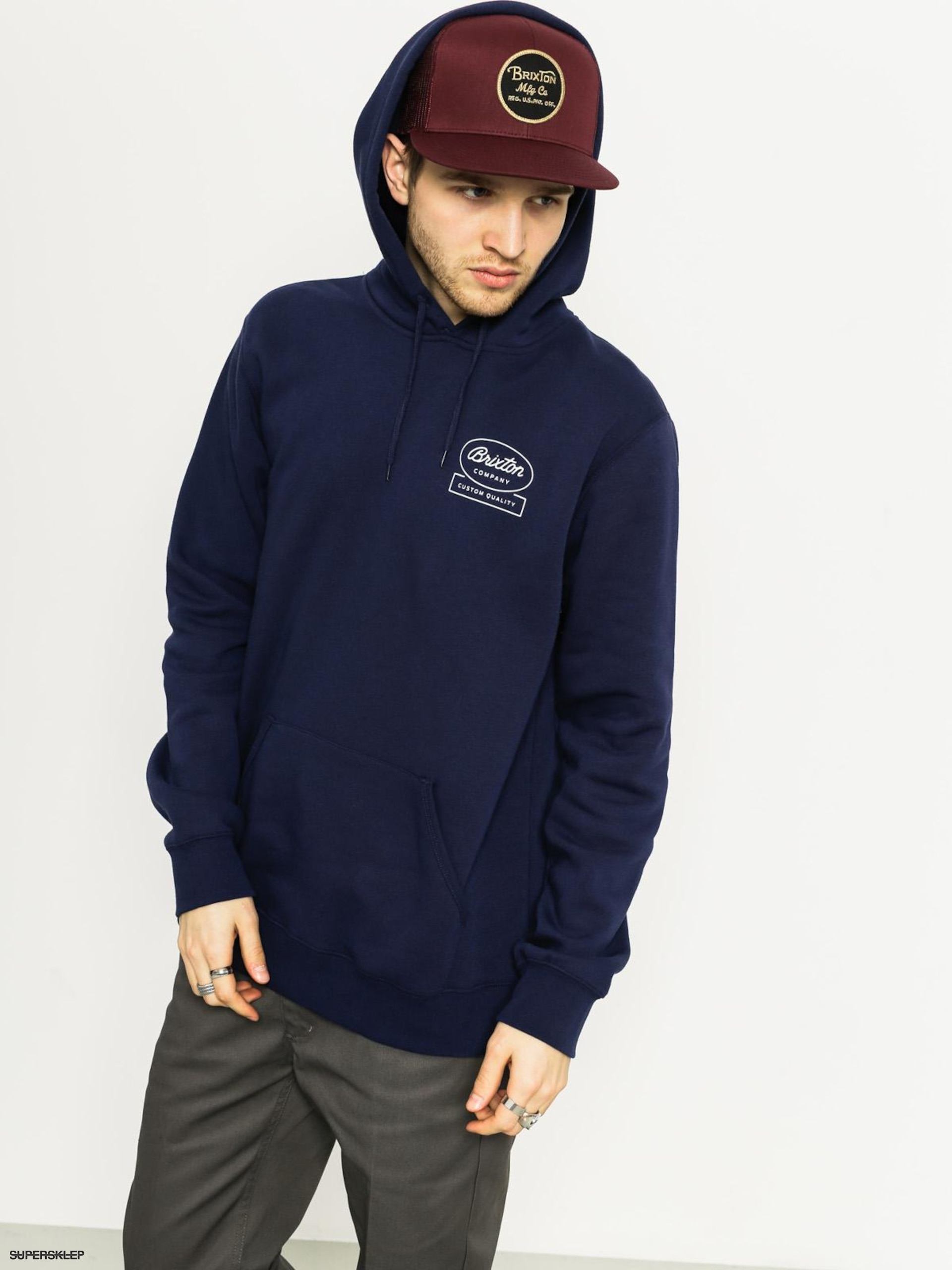 Bluza z kapturem Brixton Dale HD (light navy)