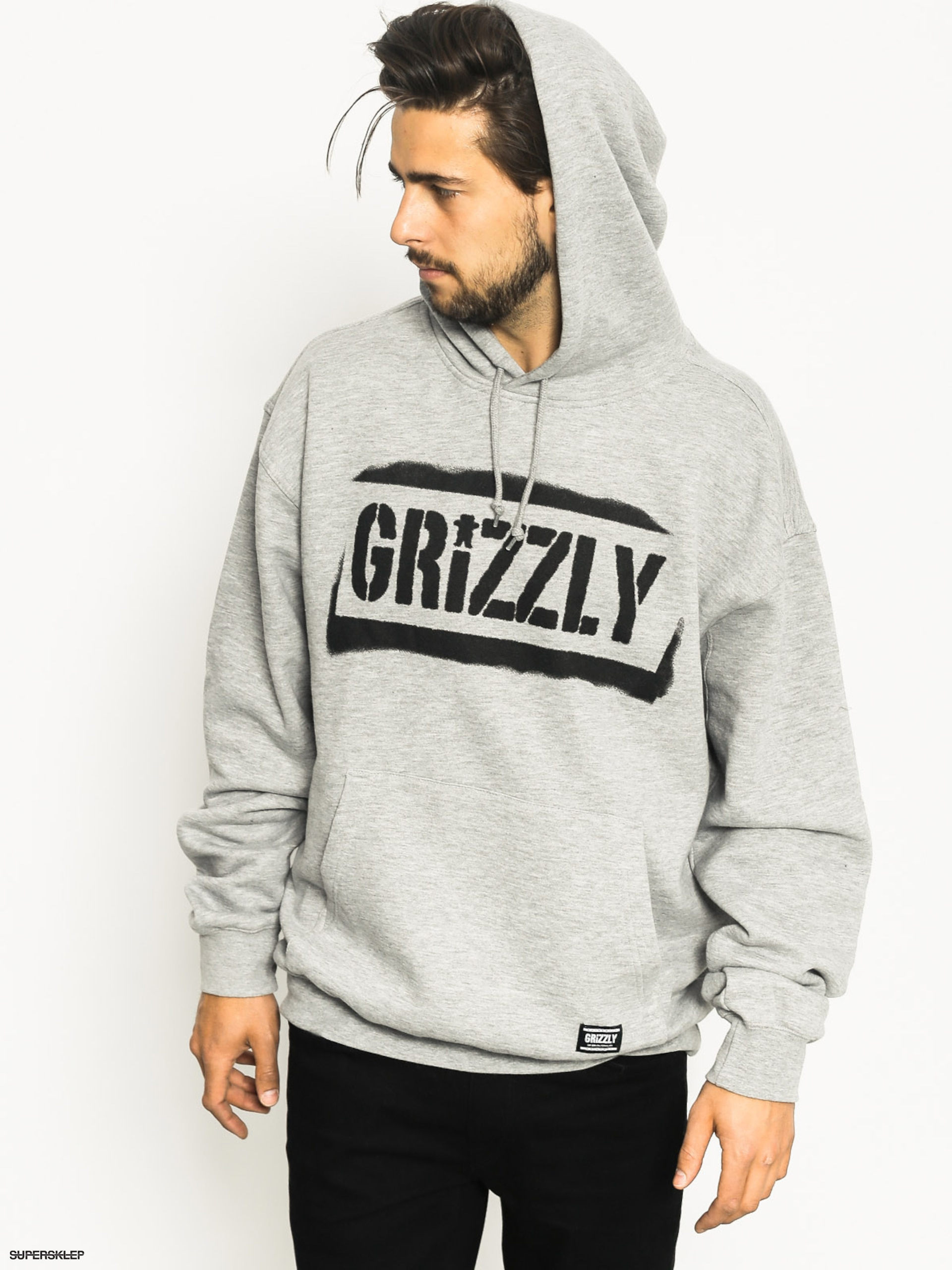 Bluza z kapturem Grizzly Griptape Stencil Stamp HD (heather grey)