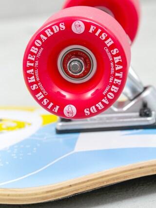 Deskorolka cruiser Fish Skateboards Flounder (silver/red)