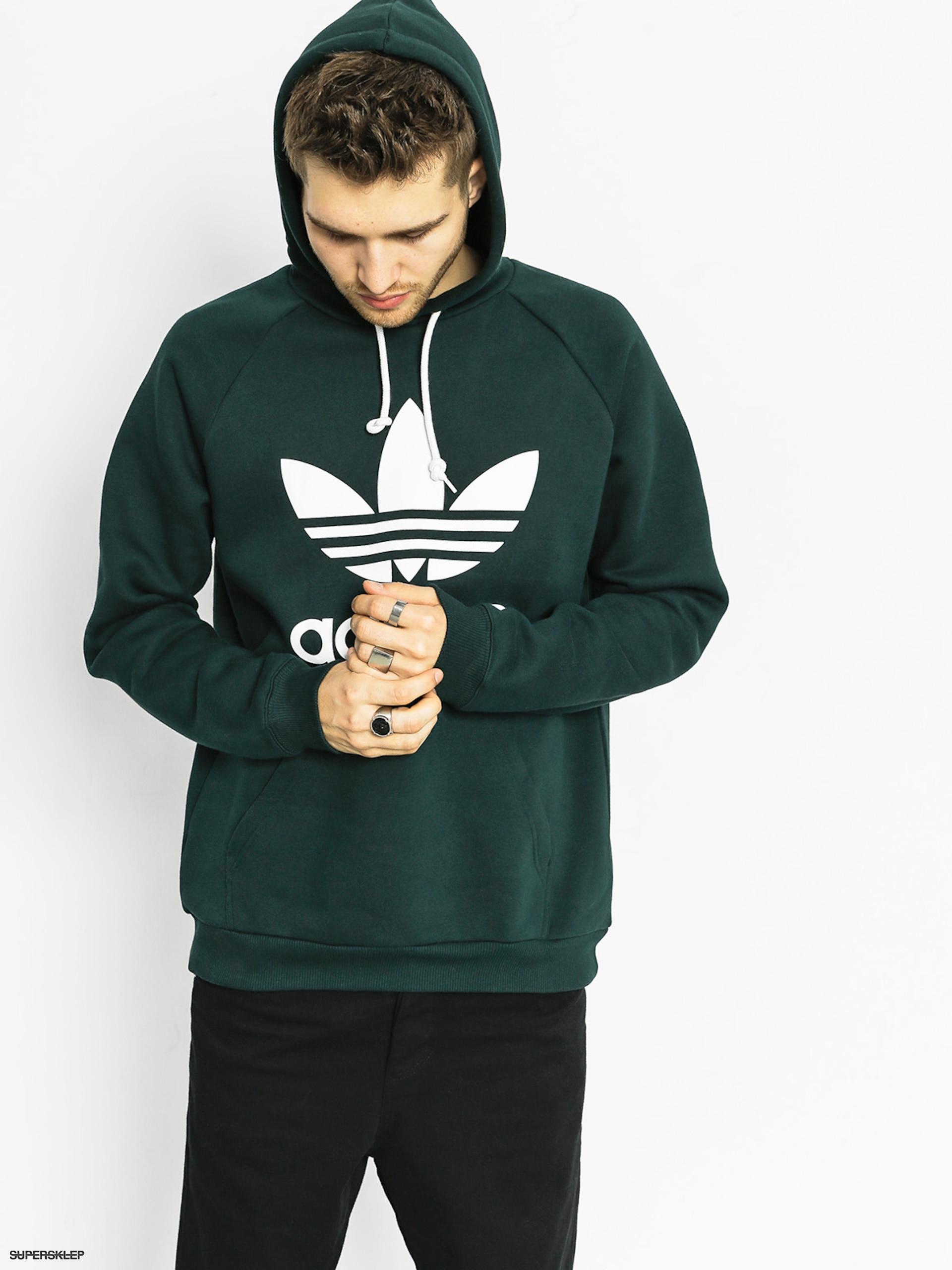 24c89b2a0c Bluza z kapturem adidas Trefoil HD (green night f17)