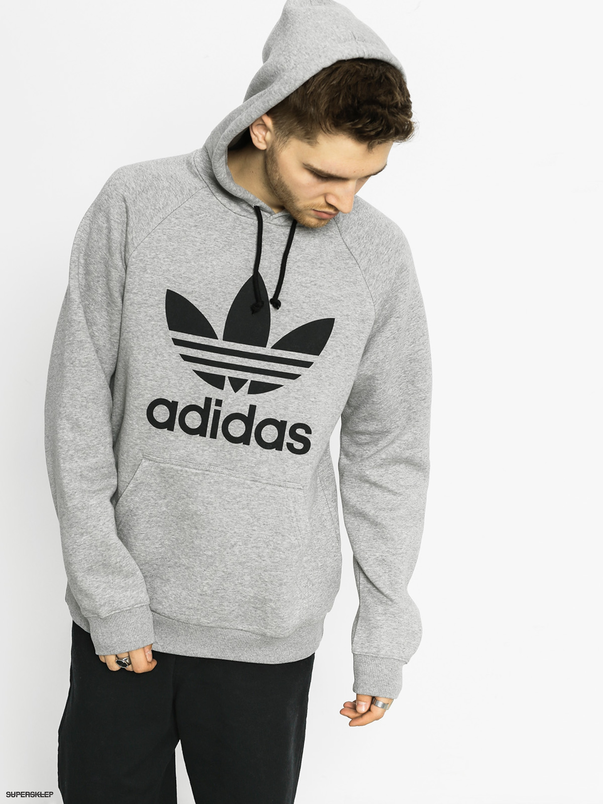 Bluza z kapturem adidas Trefoil HD (medium grey heather)