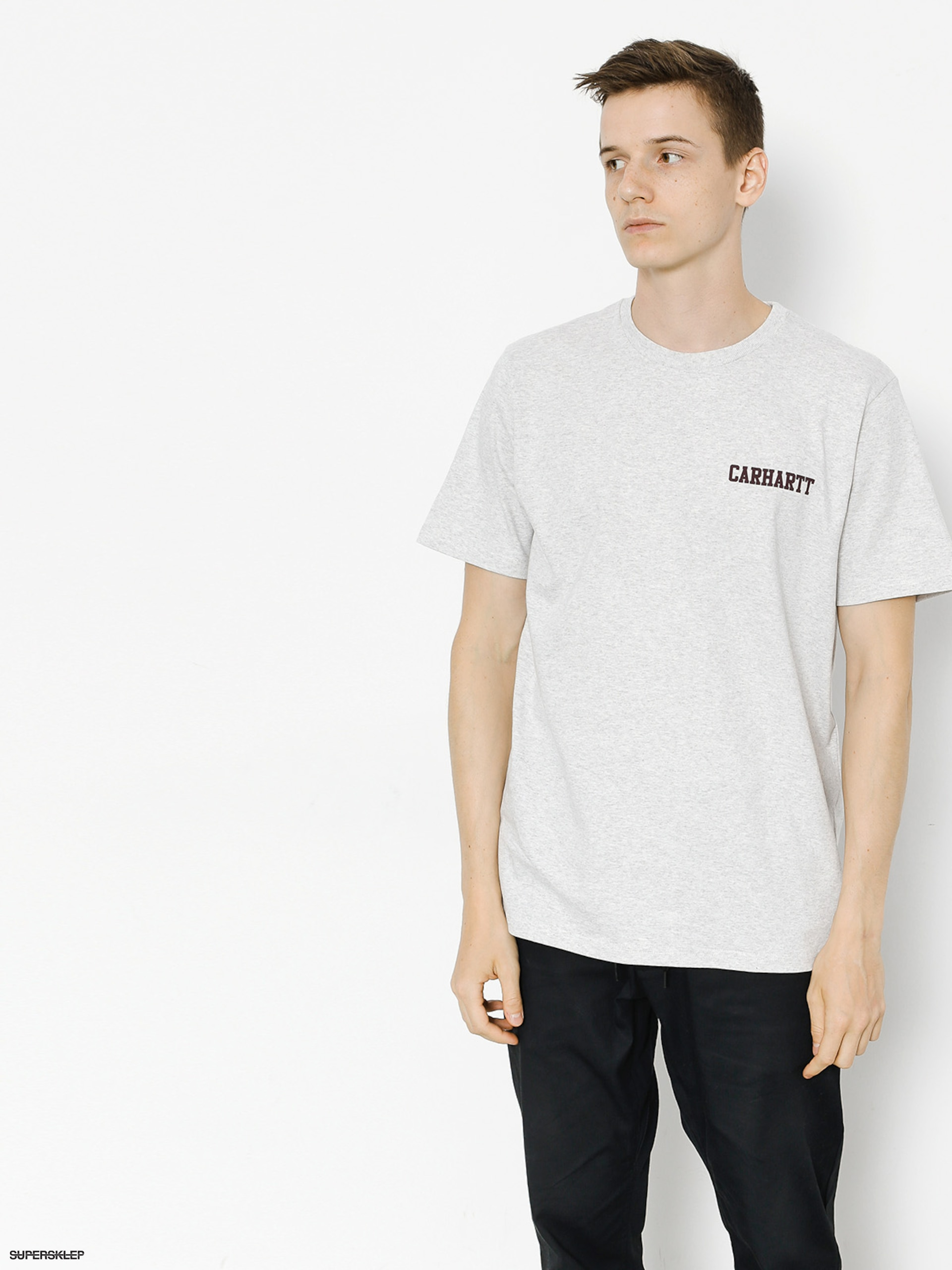 T-shirt Carhartt College Script (ash heather/damson)