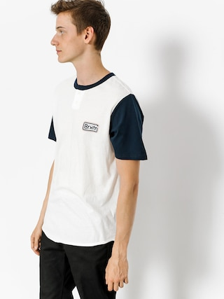 T-shirt Brixton Springfield Henley (off white/navy)