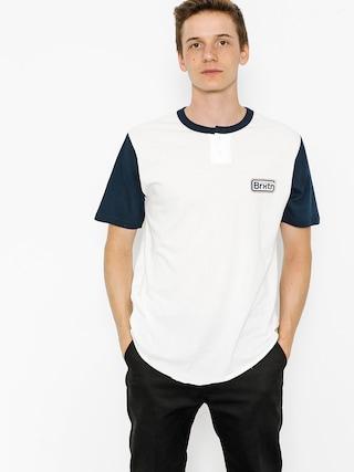 T-shirt Brixton Springfield Henley (off white/navy)