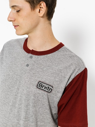 T-shirt Brixton Springfield Henley (heather grey/burgundy)