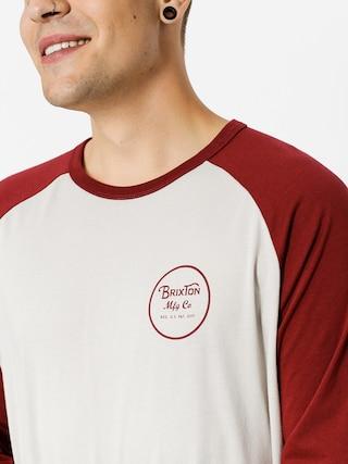Koszulka Brixton Wheeler 3I4 (stone/burgundy)