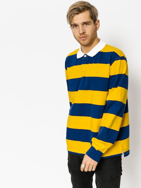 Polo Polar Skate Block Stripe Ls (navy/yellow)