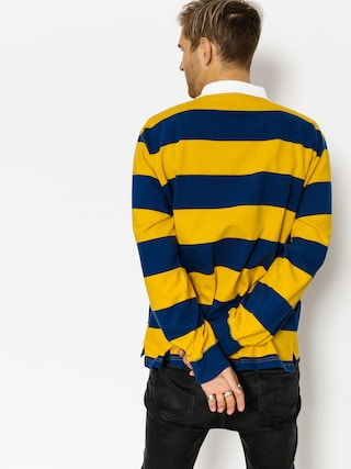 Polo Polar Skate Block Stripe Ls (navy/yellow)