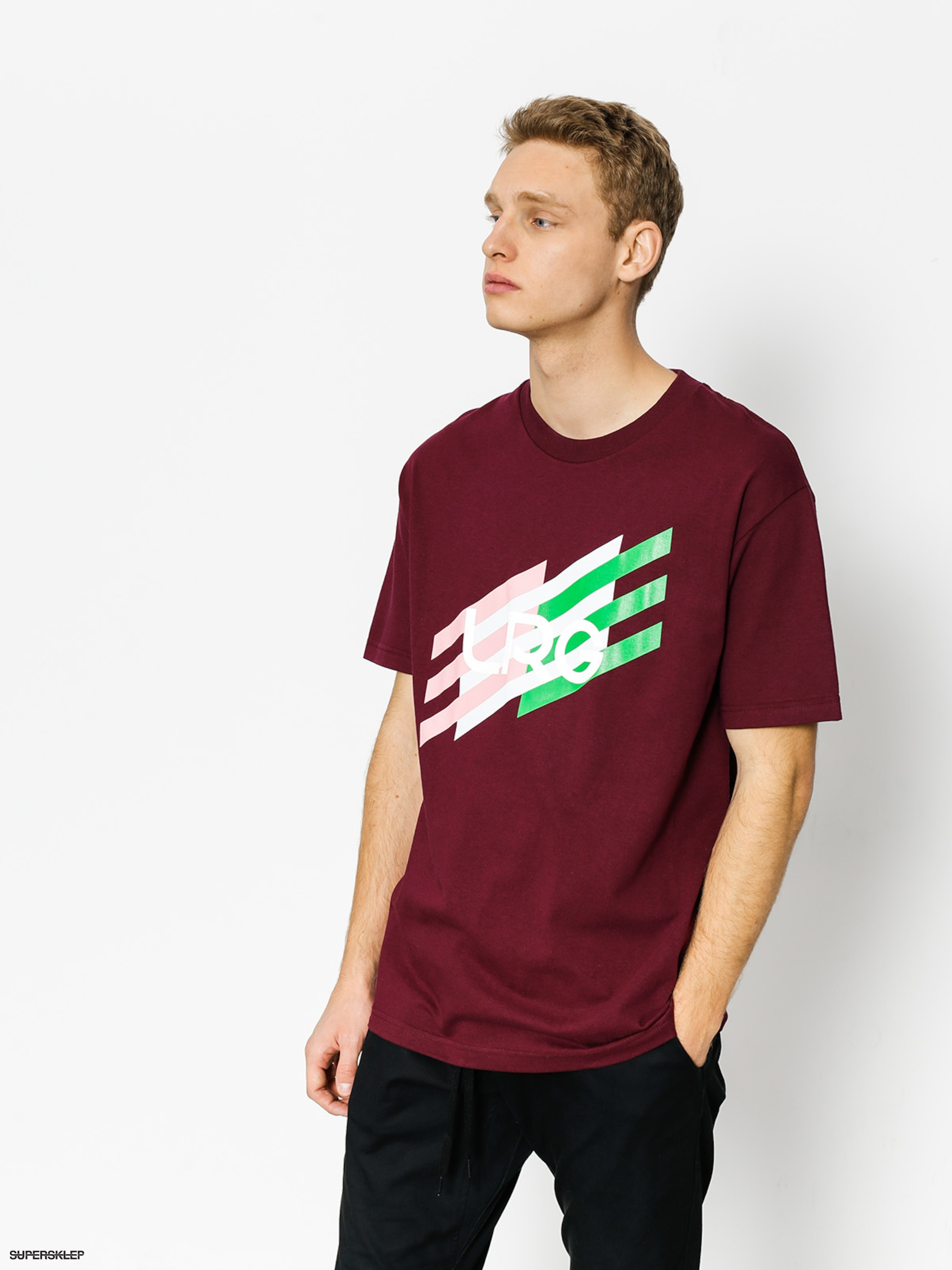 T-shirt LRG Ascending Stripes (burgandy)