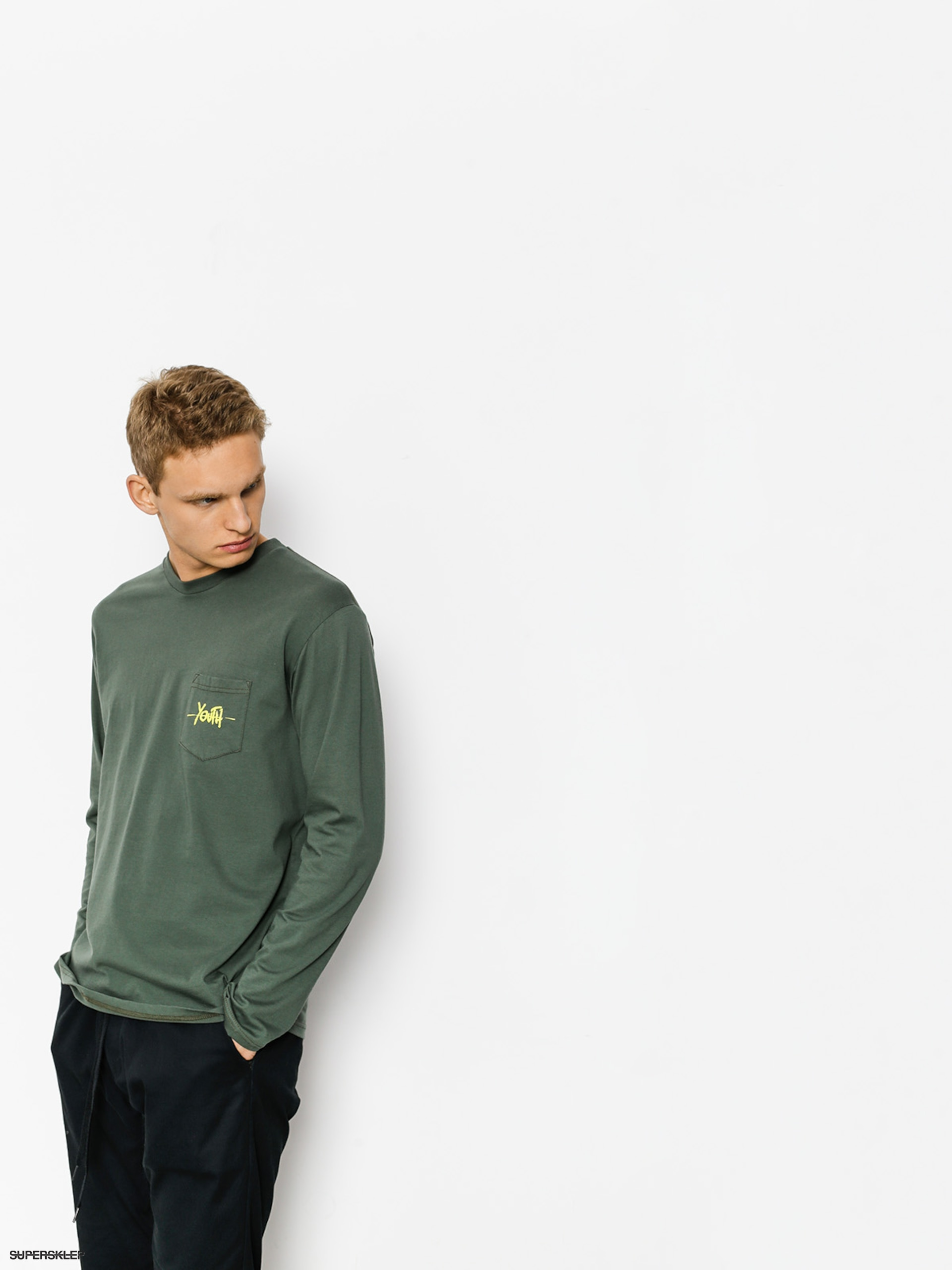 Longsleeve Youth Skateboards Pocket Youth Logo (dark green)