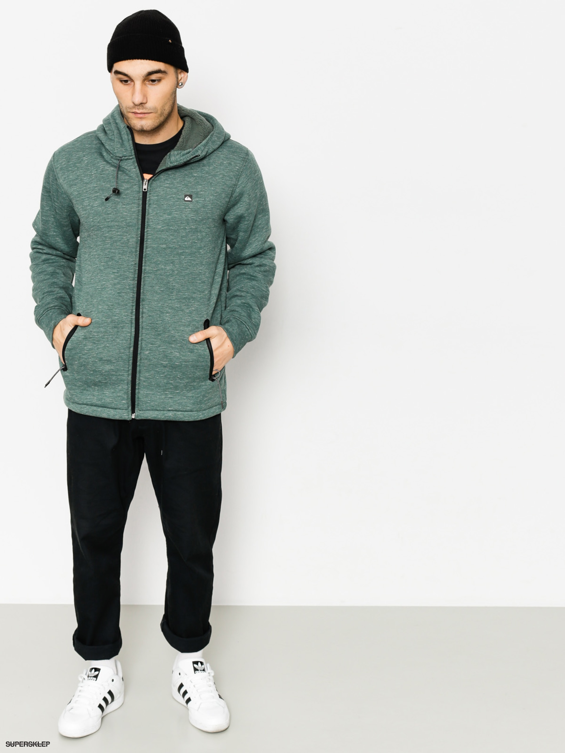 Bluza z kapturem Quiksilver Kurow Sherpa ZHD (green heather)