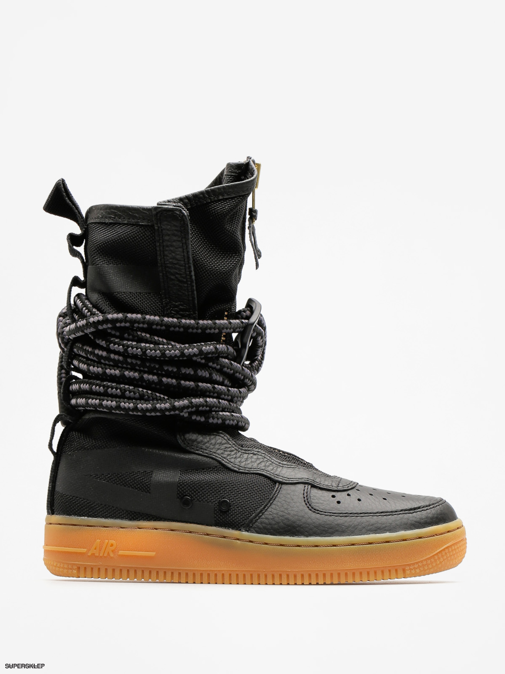 Buty Nike Sf Air Force 1 Hi Boot Wmn (black/black gum light brown)