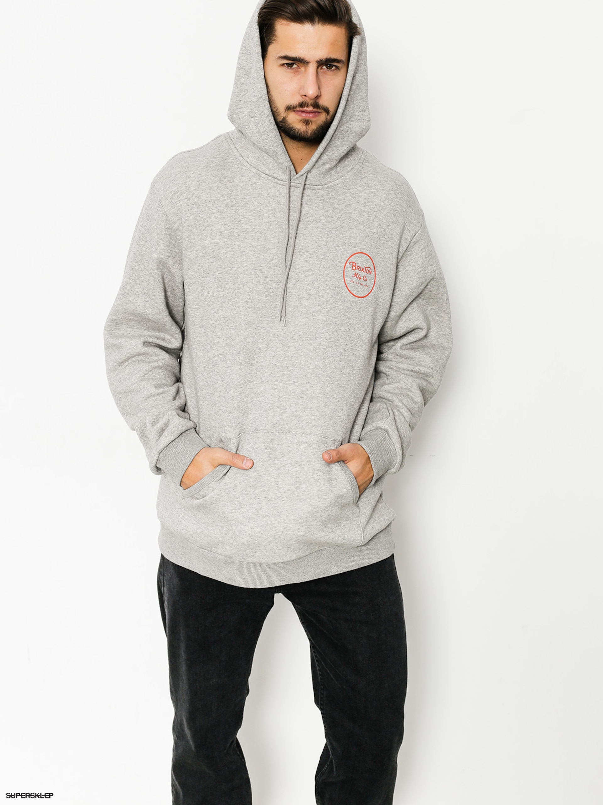 Bluza z kapturem Brixton Wheeler HD (heather grey/orange)