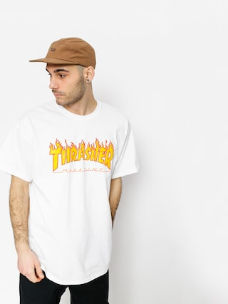 T-shirt Thrasher Flame Logo (white)