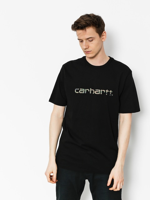 T-shirt Carhartt Script (black/camo tiger laurel)